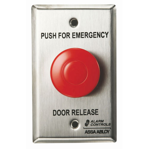 Alarm Controls TS-32G Push Button Emergency Door Release Stainless Steel Single Gang 1.5 Green Latch 1N/O N/C