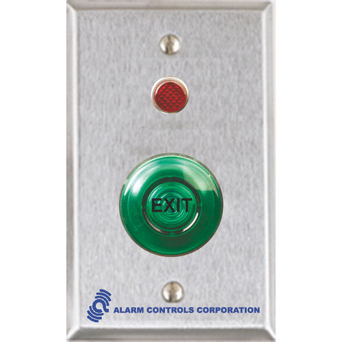 Alarm Controls TS-55G Push Button Single Gang Stainless Steel 1.5 Green Momentary III Mushroom 1Nc 1No 1/2