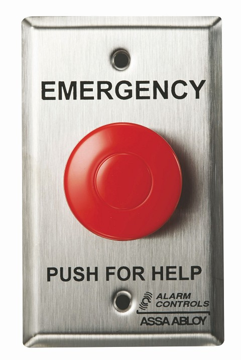 Alarm Controls PBM-1-4-L2 Push Button Momentary Panic with 1N/O 1N/C Contact Red Plate 12VDC